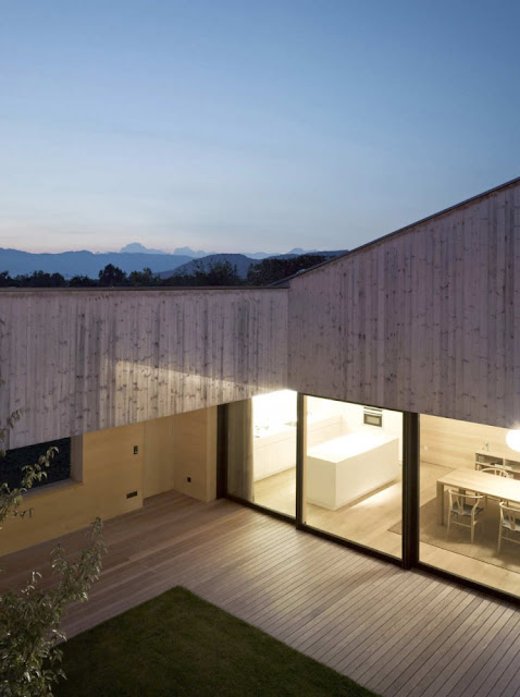 Timber house with courtyard in the middle, Austria