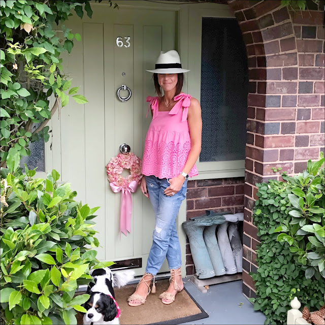 marks and spencer pure cotton broderie pinafore shell top, my midlife fashion, marks and spencer, marks and spencer handwoven panama hat, zara distressed cigarette jeans, tan flat tassel sandals