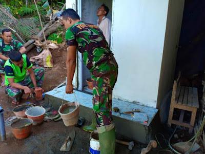 Prakarsai Pola Hidup Sehat, Satgas TMMD Ke-102 Mojokerto Bangun Jamban Sehat