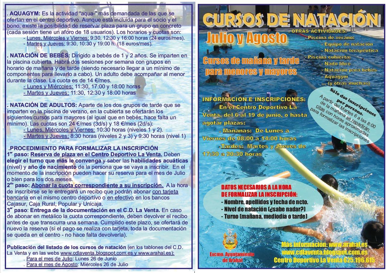 Delegaci n municipal de deportes de arahal inscripciones for Clases de natacion df