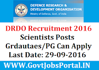 Defence Research and Development organization (DRDO) Recruitment 2016 Apply Online Here