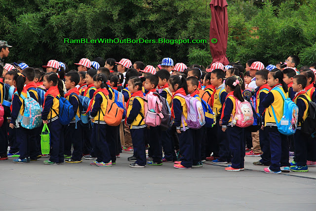 school pupils, Chengdu Research Base of Giant Panda Breeding, Chengdu, Sichuan, China