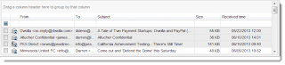Image shows 3 emails highlighted in the Eml Viewer Pro mail list.