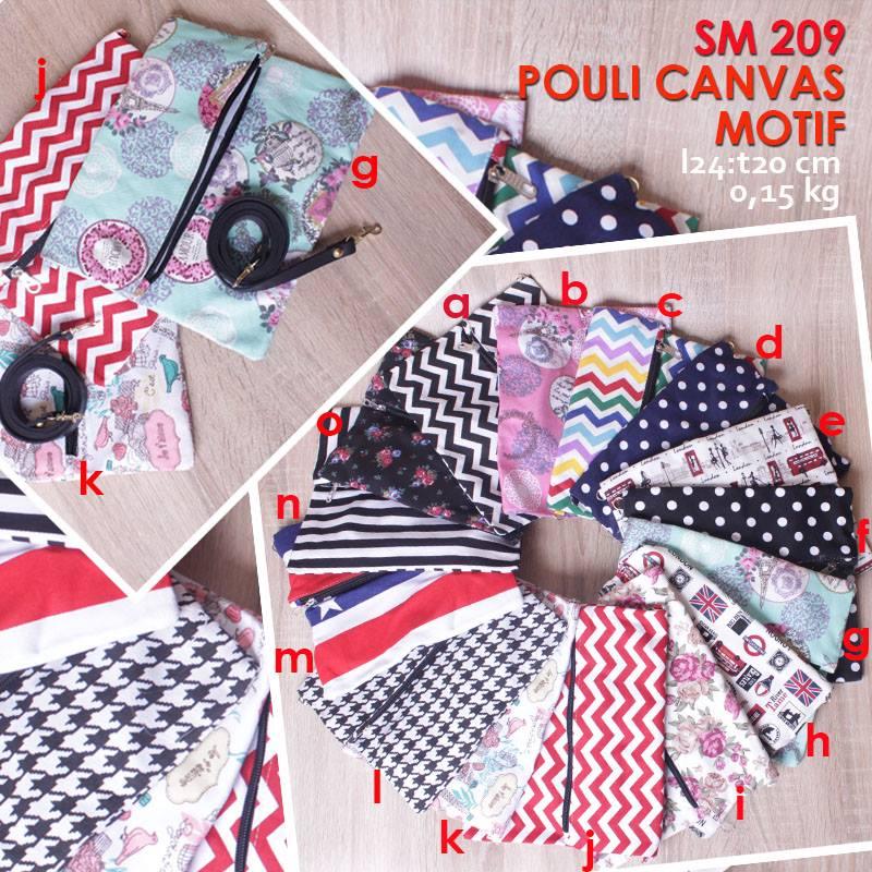 Jual Online Sling Bag Mini Wanita Murah Motif - Pouli Canvas SM 209