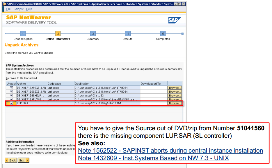 How to resolve problem with LUP sar archive - SAP BASIS