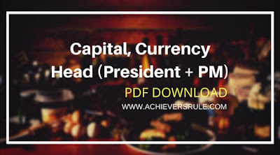 List of Countries Head, Capital and Currency PDF 2018
