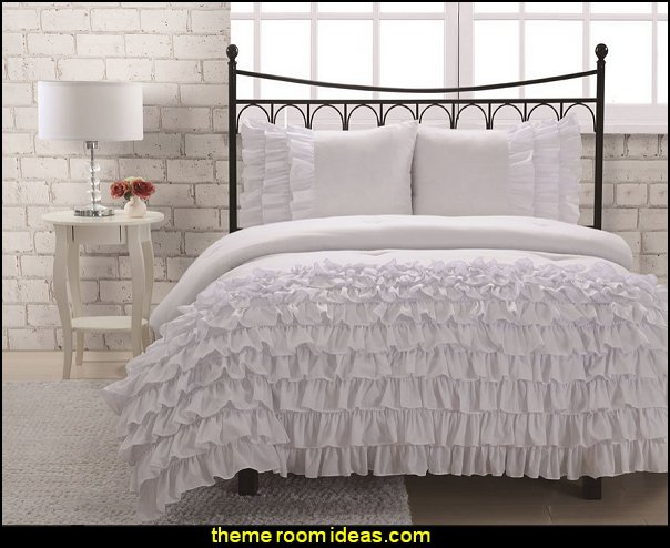 Miley Mini Ruffle Comforter Set White