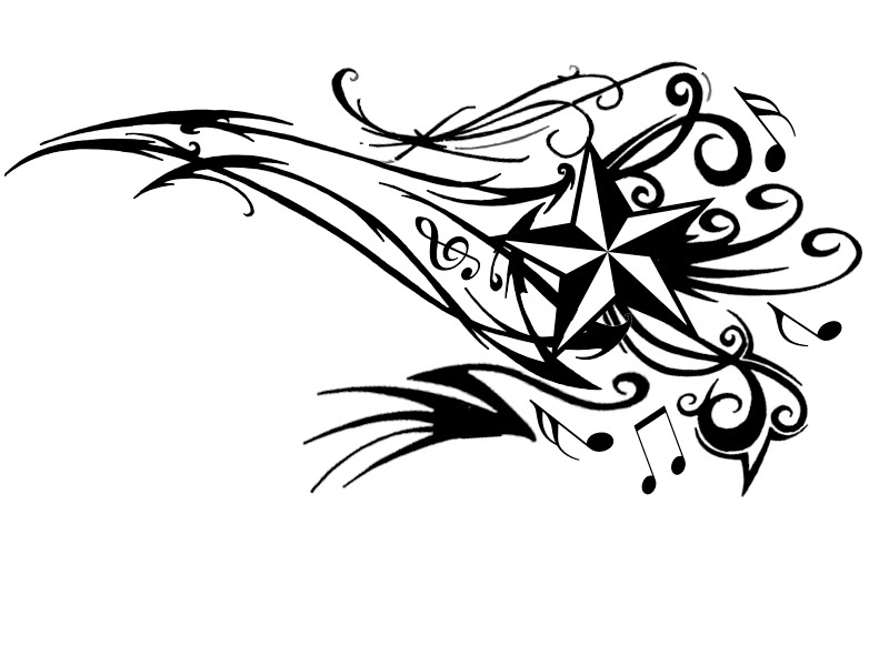 popular tattoos star tattoo design with musical notes