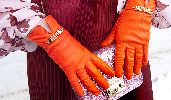 furla glitter bag, moschino gloves, pink and orange