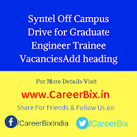 Syntel Off Campus Drive for Graduate Engineer Trainee Vacancies
