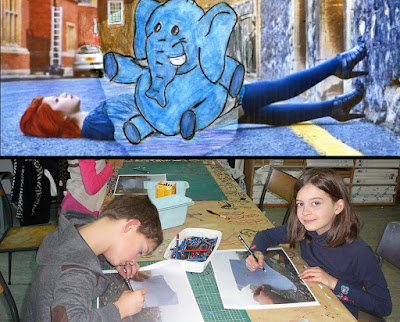 pencil vs camera concept by primary school students and fans