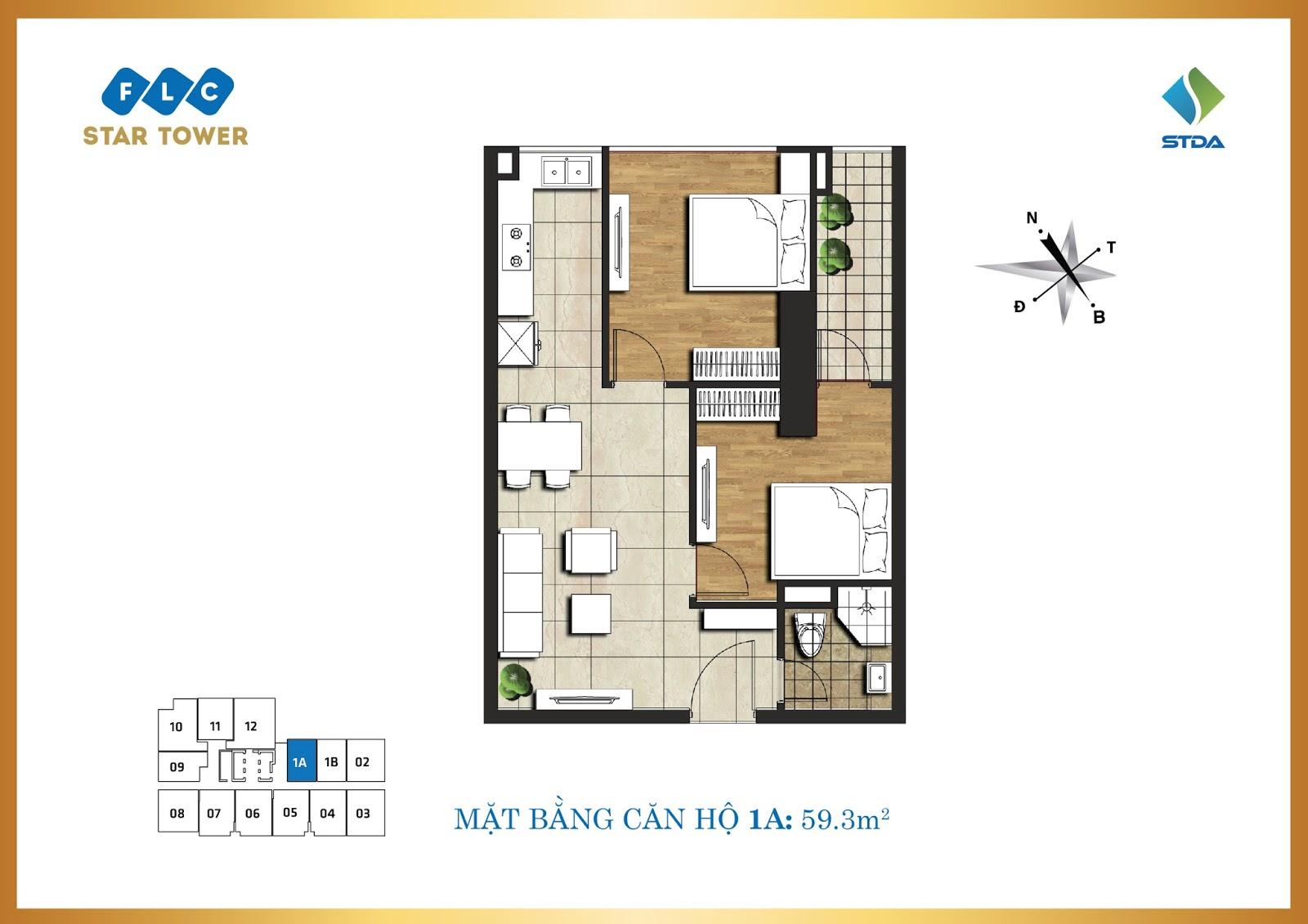 Thiết kế căn hộ 1A - Chung cư FLC Star Tower