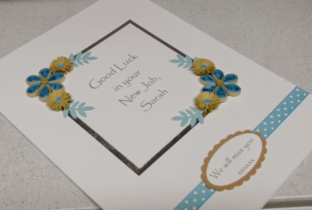 Paper Daisy Cards: Quilled new job card