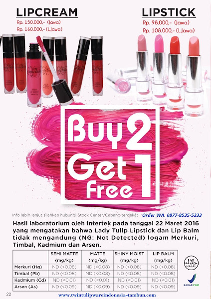 Promo Diskon April 2018, Buy 2 Get 1, Lip Cream, Lipstick