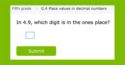 Place values in decimal numbers