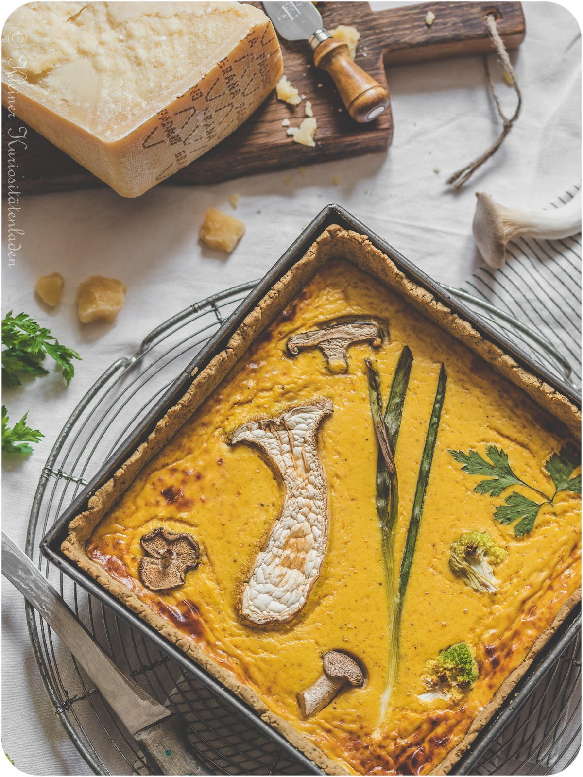 Kürbis-Pilz-Tarte mit Grana Padano