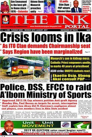 Latest Edition of THE INK NEWSPAPER, Uyo, Akwa Ibom State
