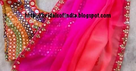 ec001b14261e57 Fashion world: Chiffon Saree With Heavy Mirror Work designer Blouse