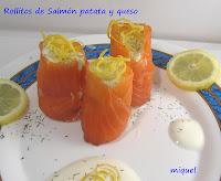 Rollitos de salmón patata y queso