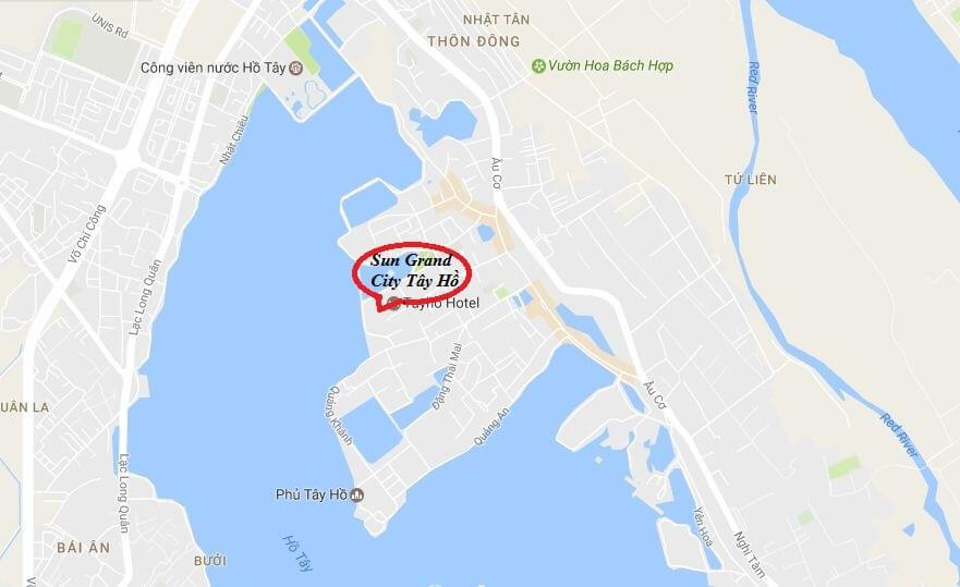 Vị trí dự án chung cư Sun Group Quảng An Tây Hồ.