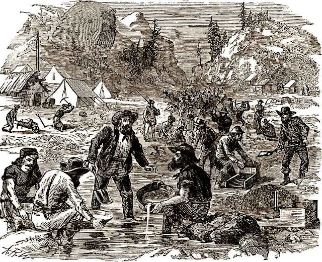 An illustration of an 1800s miner's camp. There's still gold for the taking. Only 5% of the world's supply has been discovered.