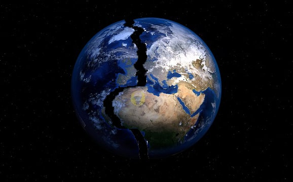 Imagine the possibility that An Earthquake Split The world In Half.