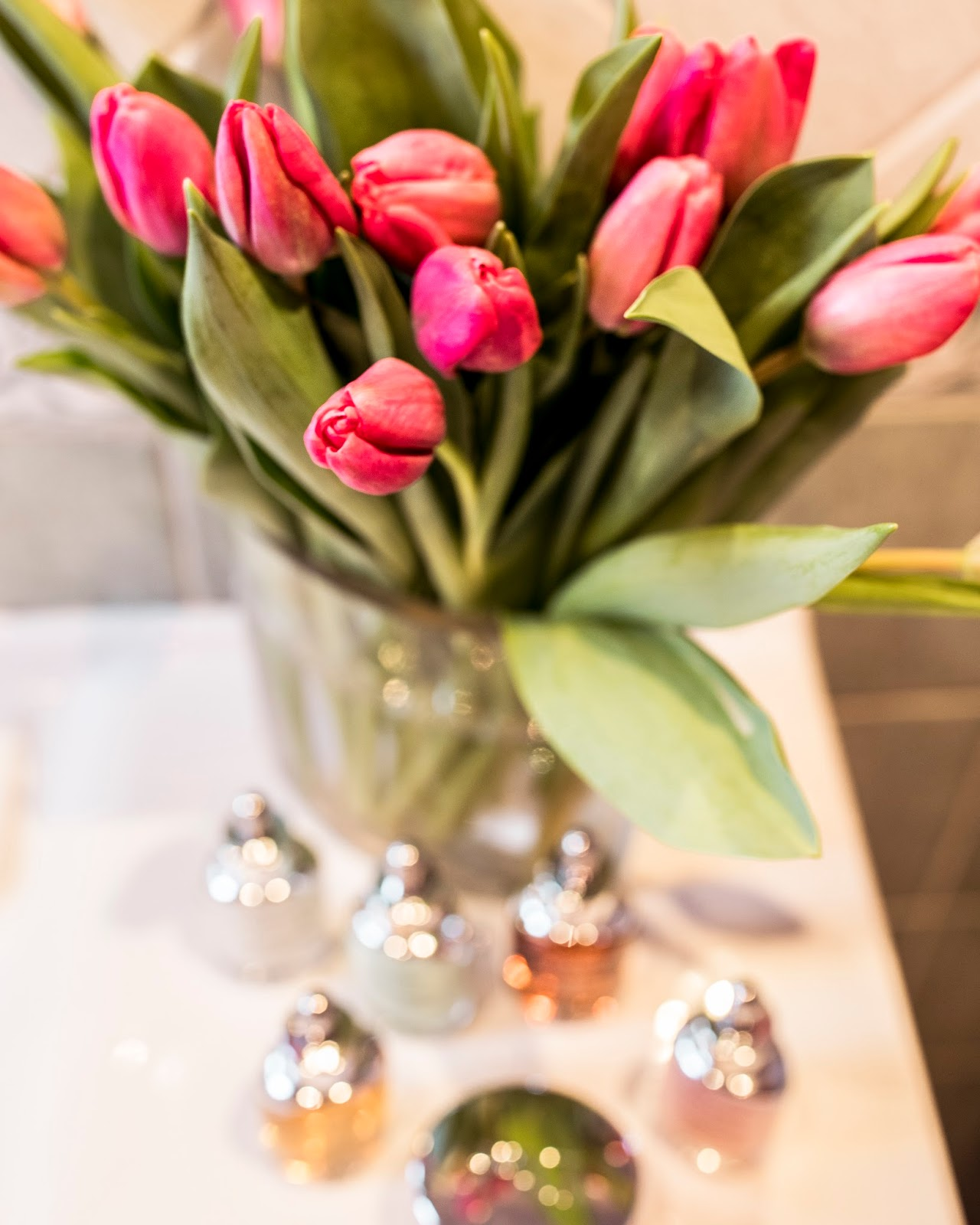 pink tulips bathroom table