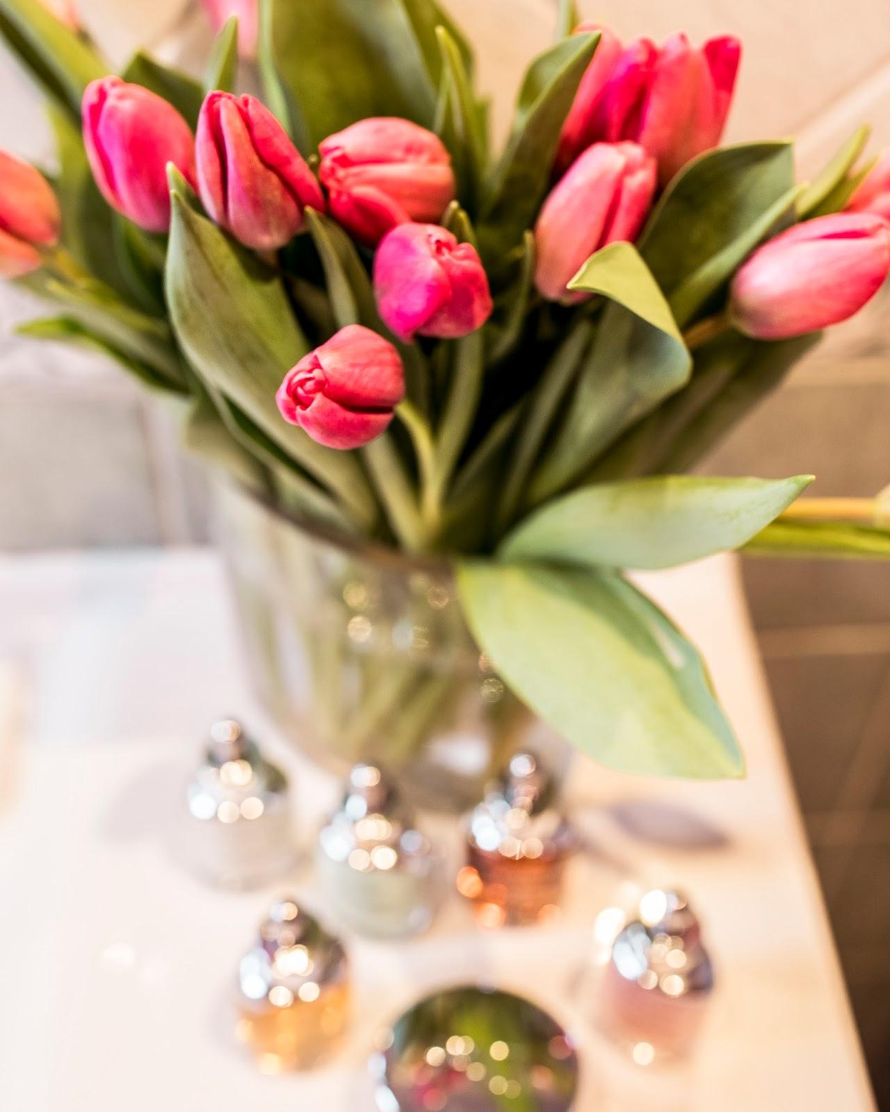 pink tulips bathroom table