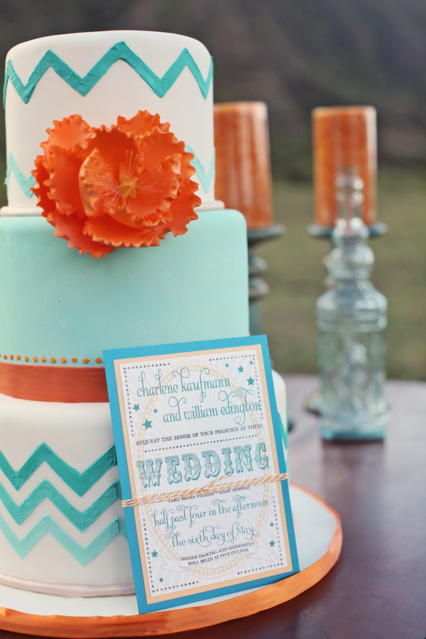 Hawaii+destination+wedding+salmon+pink+peach+orange+blue+turquoise+tropical+beach+tim+tebow+wedding+married+girlfriend+fiance+bouquet+gown+cake+chevron+modern+Creatrix Photography+12 - Tropical Oasis