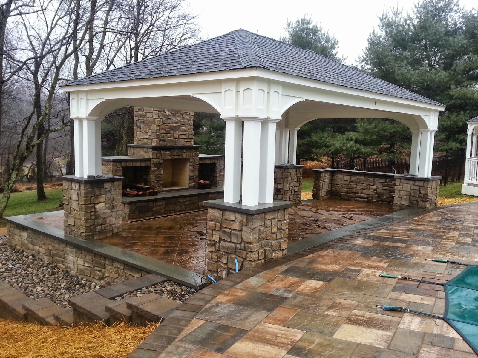 Outdoor Pavilion Fireplace By Life Time Pavers Jan 6 2017 Featured Projects Job Photos Pavilions Uncategorized