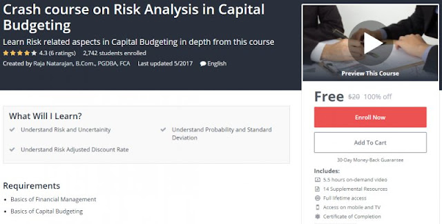 [100% Off] Crash course on Risk Analysis in Capital Budgeting| Worth 20$
