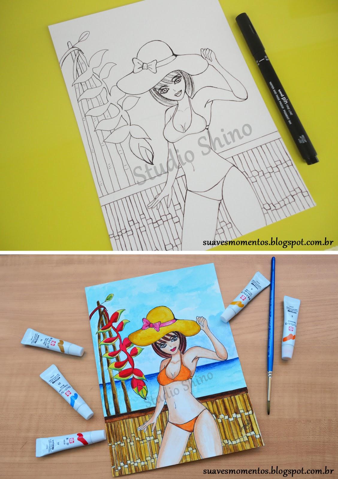 Ilustração aquarela e nankin