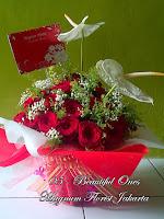 Anthurium dan Mawar Merah Cantik