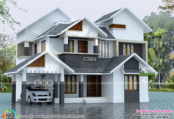 2145 sq-ft sloped roof house plan