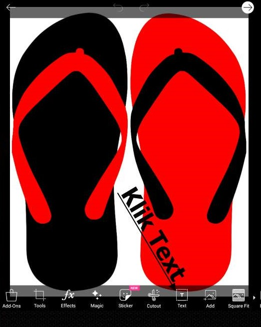 sandal merah dan hitam