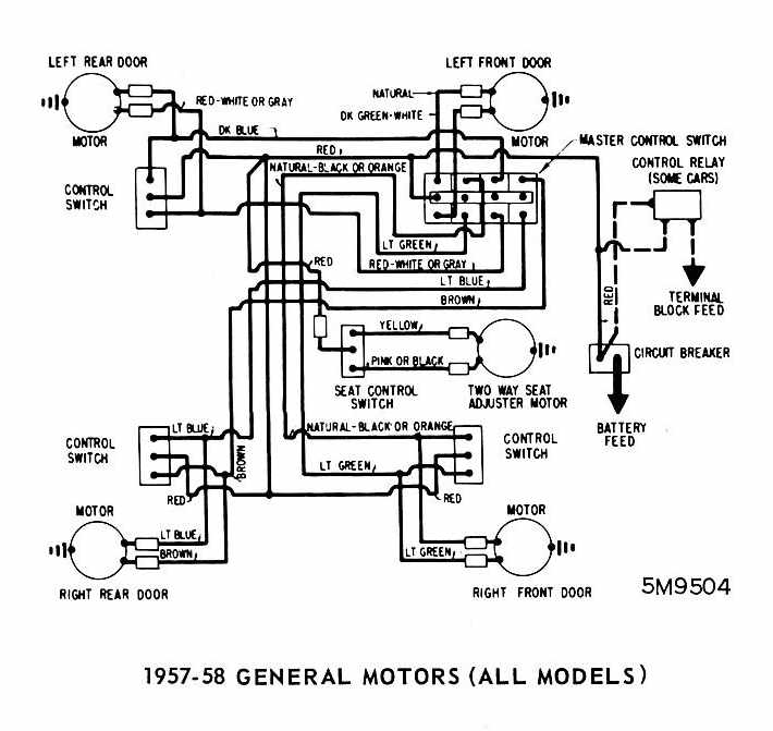 General Motors (All Models) 1957-1958 Windows Wiring