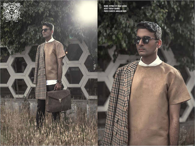 brown suede shirt and long jacket menswear/mens fashion style and profile photo shoot of architect yousaf shahbaz of strata lahore with republic by omar farooq shot by abdullah haris films in yousaf's office featuring the autumn/winter 2015 collection