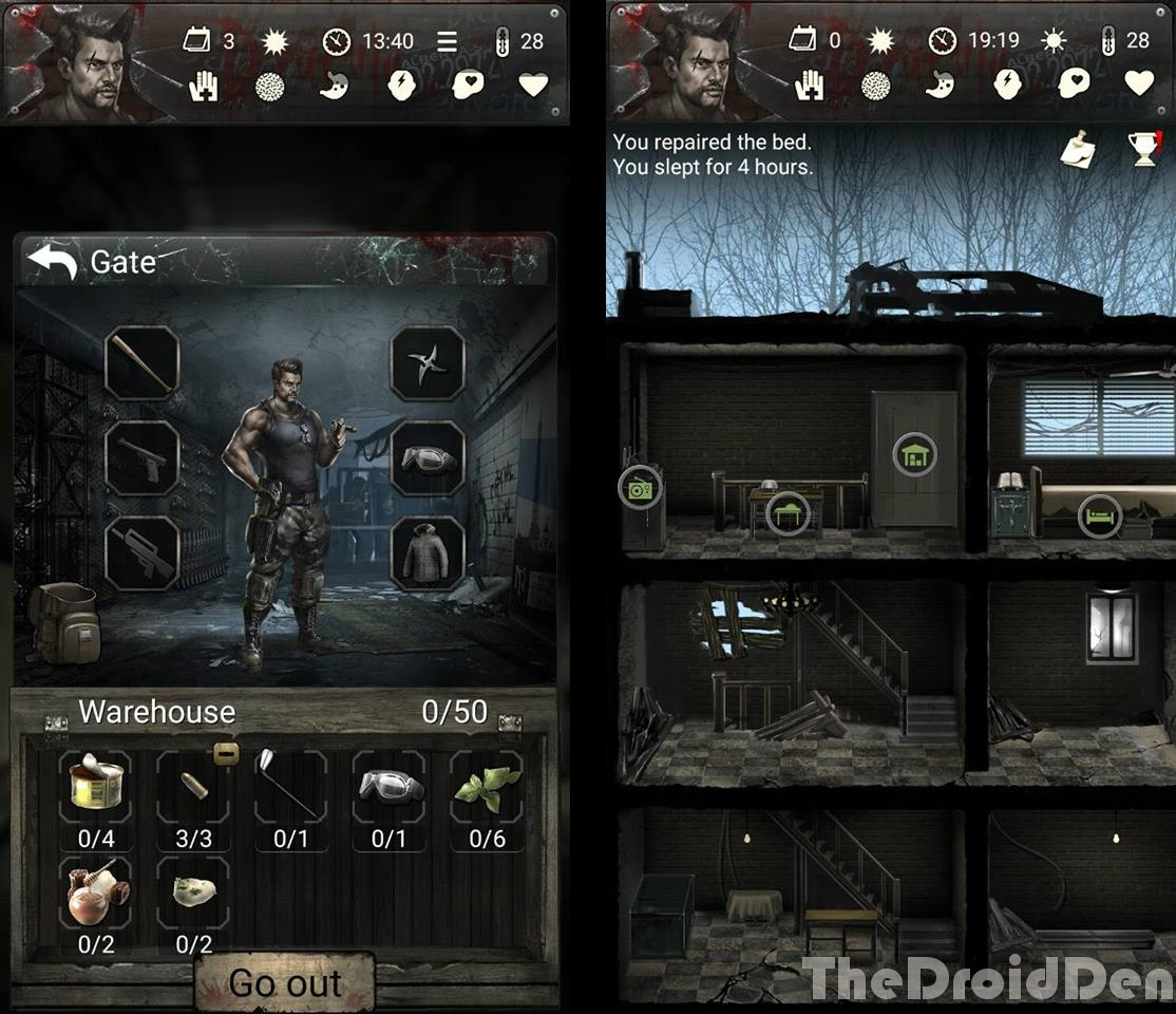 the droid den review infected zone zombie survival is text based