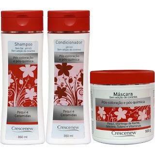 Shampoo, condicionador e máscara hidratante de pequi cabelos tintos