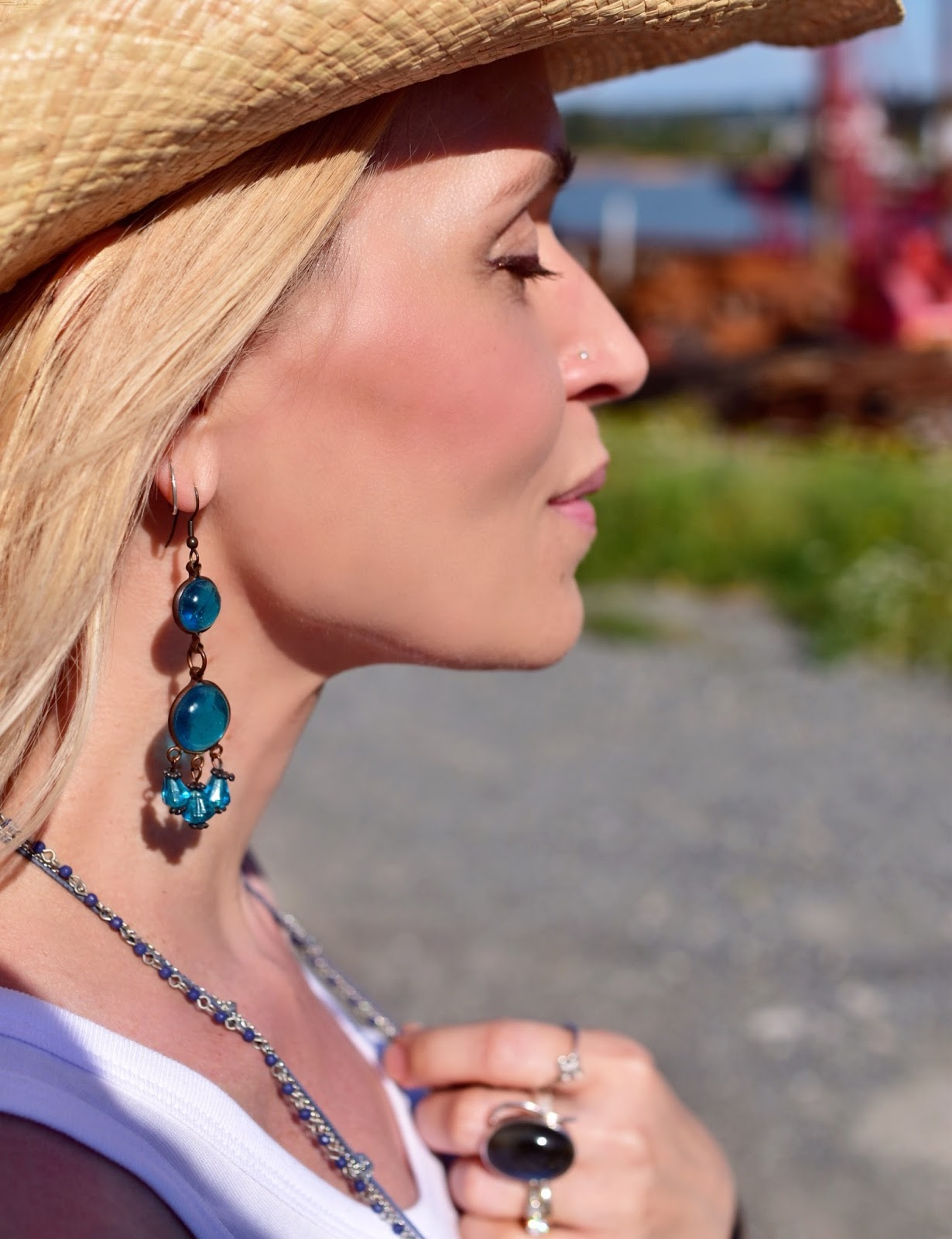 cowboy hat, glass bead earring, Labradorite finger ring