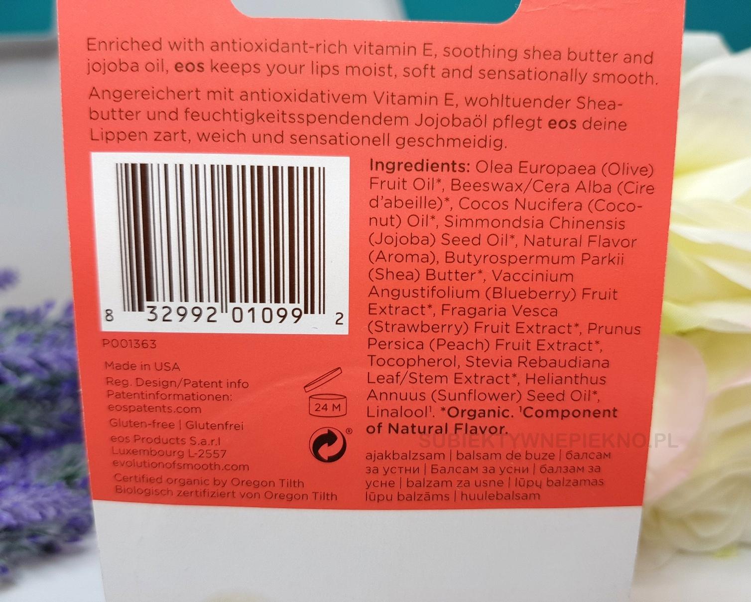 Balsam ochronny do ust ze świetnym składem | Jajeczko EOS Summer Fruits | skład działanie opinie blog cena
