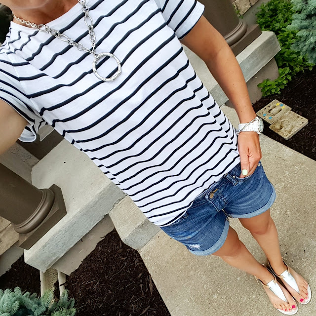 Old Navy Striped Tee - only $6 (reg $12) // Gap Factory Rolled Cuff Shorts (similar - on sale for $10, reg $25) // Nine West Sandals (similar - on sale for $16) // ILY Couture Bracelet  // Fossil Stella Crystal Watch
