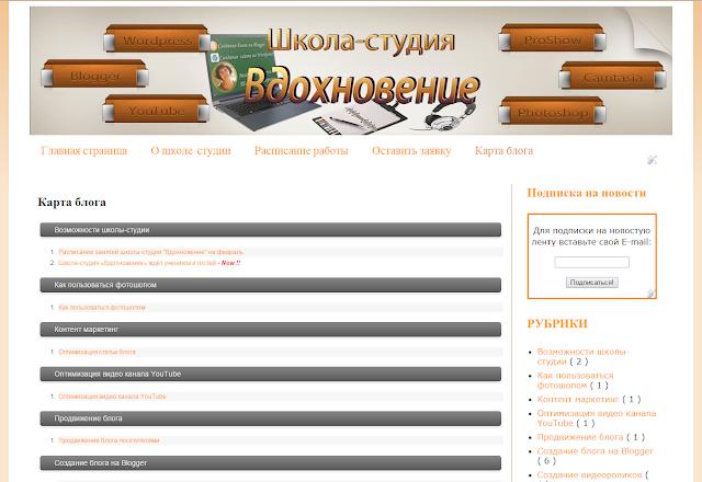 Карта блога для посетителей