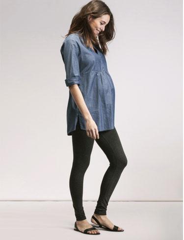 Wear Leather Leggings as Pants Maternity Fashion
