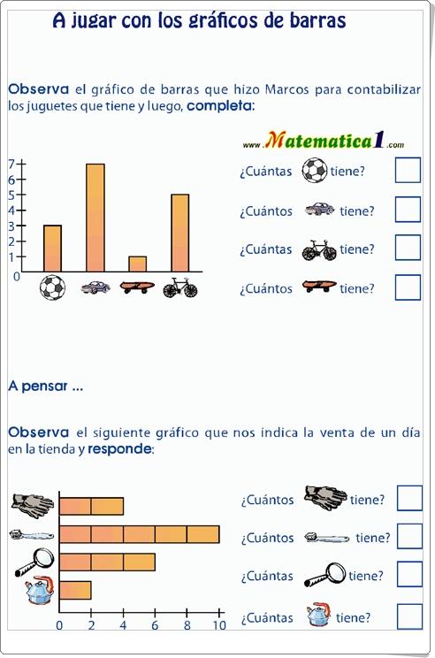"""""""A jugar con los gráficos de barras"""" (Ficha de Matemáticas de Primaria)"""