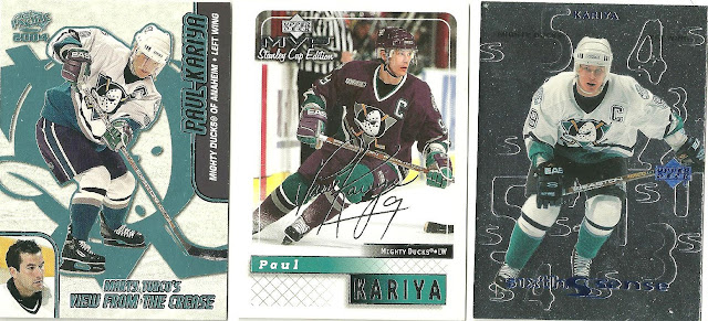 f5f632cea Paul also sent a stack of Kariya cards along with the game used piece. None  of which I had already owned and all in a Mighty Ducks jersey.