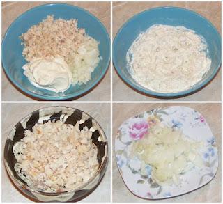 preparare salata de pastrav afumat cu ceapa si maioneza, preparate din peste, retete de peste, preparare salate aperitiv, retete culinare,