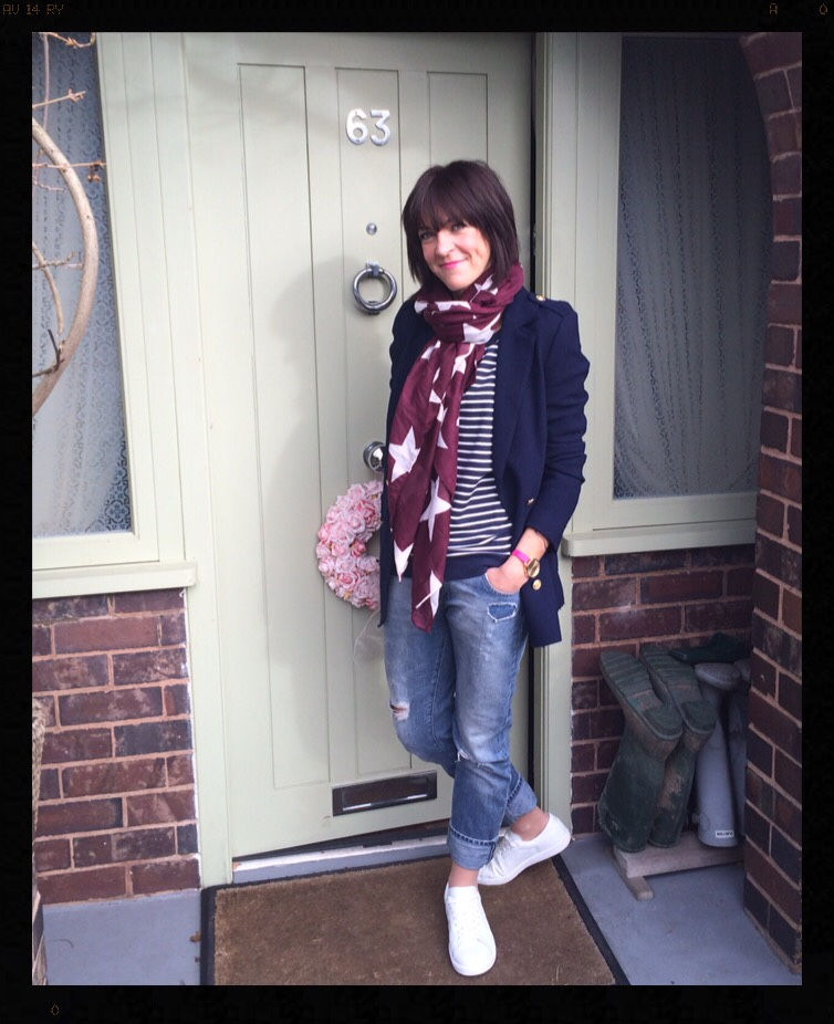 My Midlife Fashion, Stripes, Breton, Sweatshirt, Scarf, Stars, Boyfriend Jeans, Distressed Denim, Blazer, Jacket, Trainers, Mango, Zara, h and m, Boden