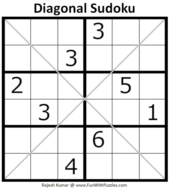 graphic about 6x6 Sudoku Printable referred to as Diagonal Sudoku Puzzles (Mini Sudoku Collection #107, #108)-Enjoyable