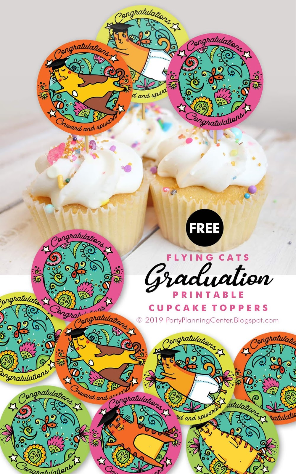 cupcake toppers that can be used for graduation table decorations
